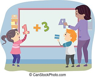 Stickman Kids Teacher Math Solve Board