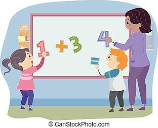 Stickman Kids Teacher Math Solve Board