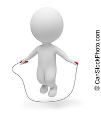 3d small people - skipping rope - 3d small people jumping...