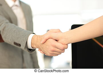 Two managers making agreement - Business people closing a...