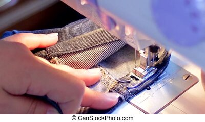 Sewing machine hemming pants blue hd