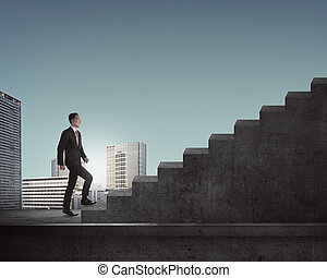 Man Going Up Stairs