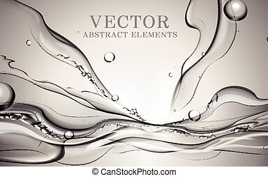 Abstract dynamic water, fresh splash water effects for...