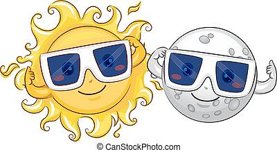 Mascot Sun Moon Solar Eclipse Glasses - Mascot Illustration...