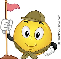 Smiley Scout Camp Flag - Mascot Illustration of a Happy...