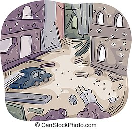 War Zone City Building Ruins - Illustration of a City Left...
