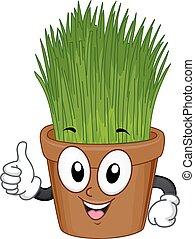 Indoor Plant Mascot Grass Pot