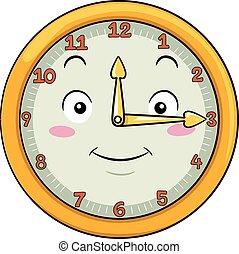 Mascot Clock Fifteen After Twelve - Mascot Illustration of a...