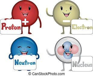 Mascot Sub Atomic Particles - Colorful Illustration...