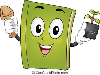 Mascot Book Garden Tool Sapling - Mascot Illustration of a...