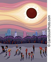Solar Eclipse Observation - Illustration of a Crowd of...
