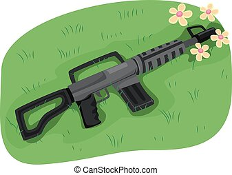 Gun Muzzle Flowers Peace - Illustration of an Assault Rifle...