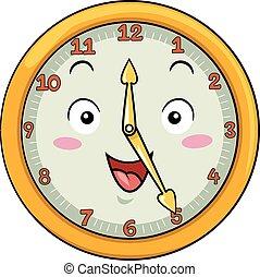 Mascot Clock Twenty Five After Twelve - Mascot Illustration...