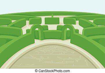 Outdoor Garden Hedge Maze - Illustration Featuring a Green...