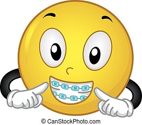 Smiley Dental Work Braces Smile - Mascot Illustration of a...