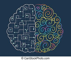 Left Right Brain Concept - Conceptual Illustration of the...