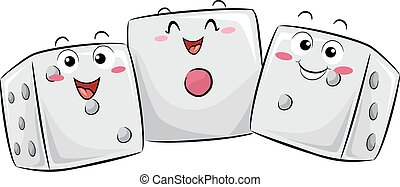Mascot Dice Probability - Mascot Illustration of a Group of...