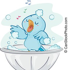 Blue Bird Bath Singing - Illustration of a Cute Blue Bird...