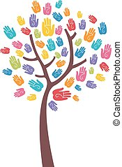 Tree Colorful Hand Print Design
