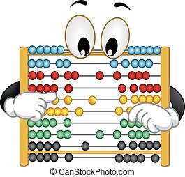Mascot Abacus Rearrange Beads - Illustration of a Curious...