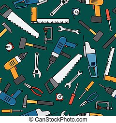Construction work tools pattern on dark green background....