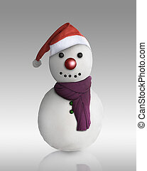 Snowman wearing santa hat isolated over white background