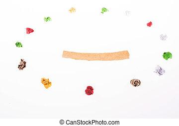 arrugado, colorido, forma, símbolo, alegre, papel, círculo, felicidad