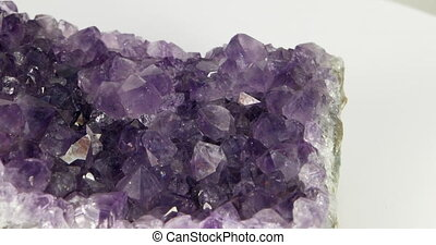 Amethyst. Panorama with rotation. Close-up