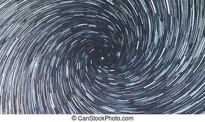 Colorful night sky. Spiral. Continuous lines. Zoom. Russia
