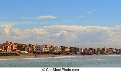 Houses on the coast of Ostia, Rome, Italy. Time Lapse