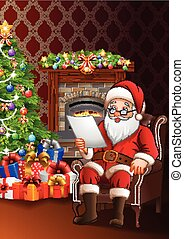 Santa Claus reading a list of gifts in the living room