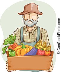 Man Farmer Produce Crate - Illustration of a Farmer in...