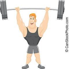 Man Weight Lift Barbell - Fitness Illustration of a Muscular...