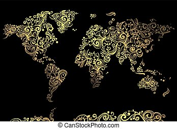 World Map Glowing Vines - Artsy Illustration Featuring a...
