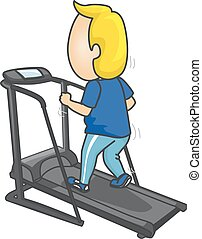 Man Workout Treadmill - Fitness Illustration of a Man in...
