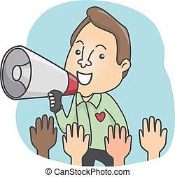 Man Megaphone Calling Volunteers