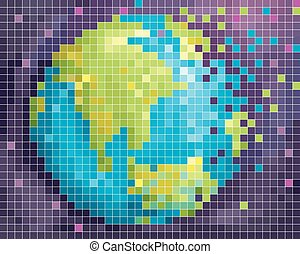 Earth Outer Space Pixel Art - Abstract Illustration...