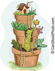 Miniature Garden Pots - Illustration of a Tiered Miniature...