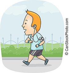 Man Running Exercise - Fitness Illustration of a Man in...