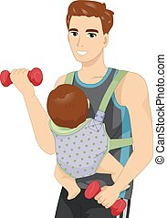 Man Work Out Baby Sling - Fitness Illustration of a Man...