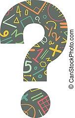 matemático, ecuaciones, pregunta, marca