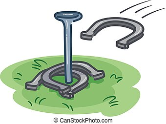 Game Horseshoe Pit Throw - Illustration of Players Throwing...