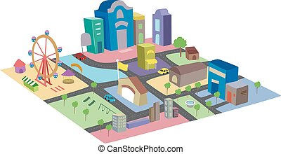 Colorful Miniature City - Illustration of a Colorful and...