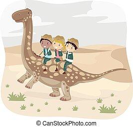 Dinosaurio, niños,  stickman, desierto,  argentinosaurus