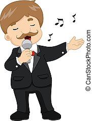 Man Tuxedo Singing Microphone - Illustration of a Male...