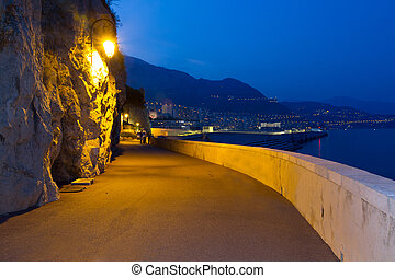 Monaco at night - View of Monaco at night
