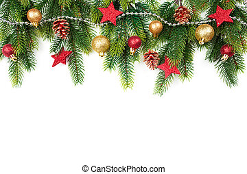 Christmas border with trees, balls, stars and other...
