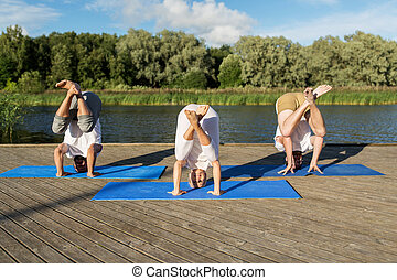 people making yoga in crane pose outdoors - yoga, fitness,...