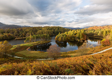 Autumnal View of Tarn Hows in The Lake District, UK