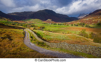 Little Langdale and The Pikes - An undulating track winding...